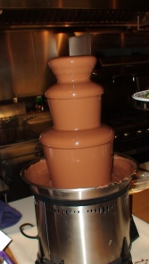 Milk chocolate fountain