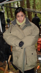 It was chilly on location