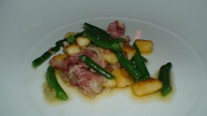 House gnocchi with green beans and bacon.