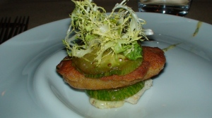 Crispy pig brain with fried green tomato