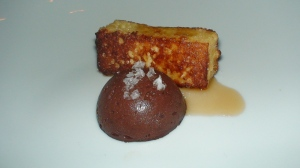 Chocolate dome, pain perdu, maple syrup