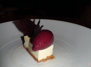 Cheesecake with Corinthian grape sorbet
