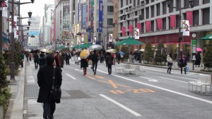 Every Sunday and holiday, Ginza Dori is closed off to vehicle traffic.