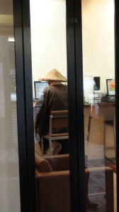 The last time I was in Tokyo, I snapped a photo of a monk in an internet cafe.  Two years later, I walk by the same cafe...