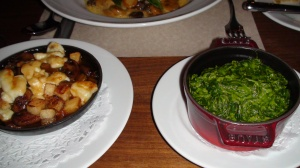 The poutine Lyonnaise and the greener than green spinach