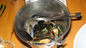 A bucket of mussels