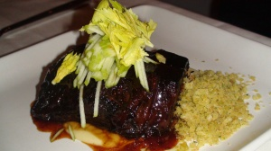 Soy Glazed Short Ribs with Apple-Jalapeno Puree and Rosemary Crumbs