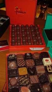 Jacques Torres champagne truffles and 50 piece assortment.