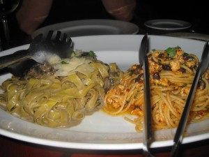 Fettuccine Tarufati (left) Spaghetti Quattro (right).