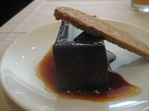 Oh, and dessert.  A chocolate creme caramel for Fondy.