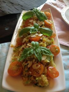 And quinoa salad with sungold tomatoes, mango, and fresh basil.