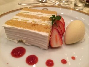 Melon cake with vanilla ice cream and red fruit coulis.