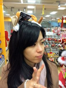 Akemi getting into the Christmas spirit