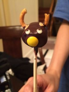 Chocolate reindeer pop