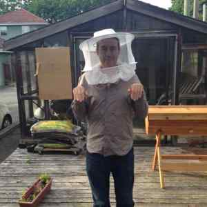 My attempt to approximate Akemi's official beekeeper stance.