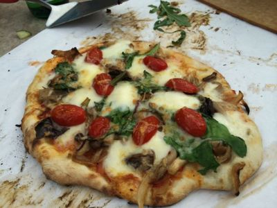 Mushrooms, basil, cherry tomatoes, and cheese.