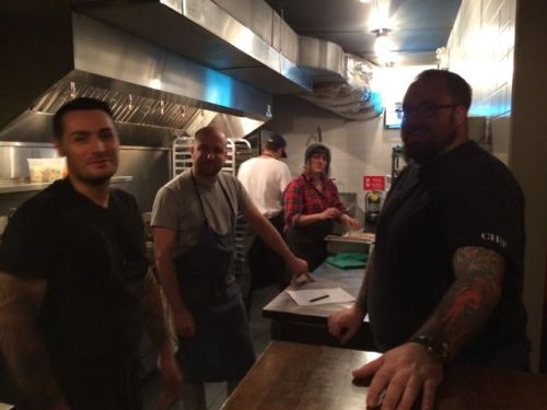 Chef Belcham (right) joined forces with three other chefs to create the evening's special menu.