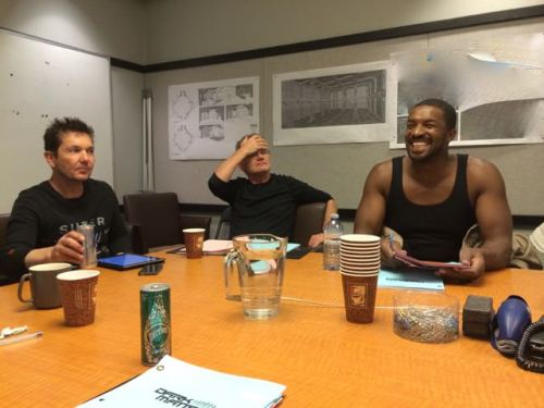 Director T.J. Scott, Line Producer Norman Denver, and actor Roger Cross (SIX).