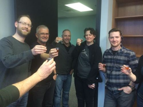 Adhering to Scottish film labor regulations, the gang takes a union-mandated scotch break.