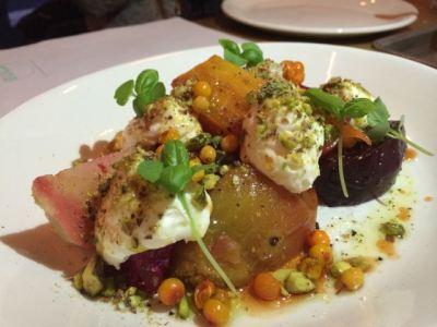 Salt baked beets, stracciatella spuma, pistachio, sea buckthorn berry