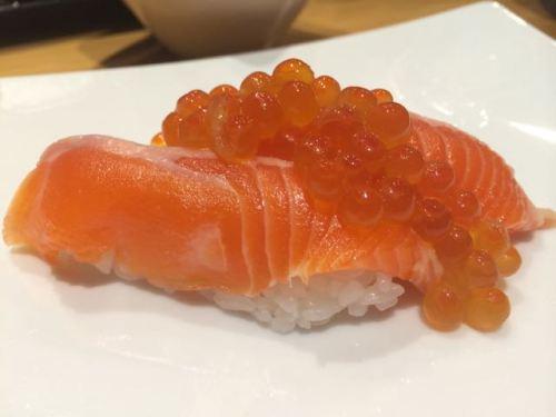 Trout nigiri and roe at Sushi Kaji.