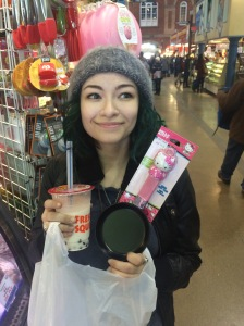 Bubble tea and a tiny Hello Kitty frying pan - presumably for making quail egg omelets.