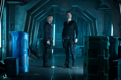 "DARK MATTER -- "" I've Seen The Other Side of You "" Episode 203 -- Pictured: (l-r) Alex Mallari, Jr. as Four, Anthony Lemke as Three -- (Photo by: Christos Kalohoridis/Prodigy Pictures/Syfy)"