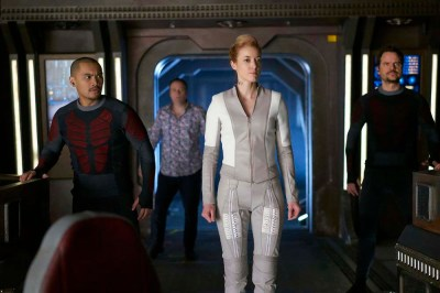 """DARK MATTER -- """"She's One of Them Now"""" Episode 207 -- Pictured:  (l-r) Alex Mallari Jr. as Four, Zoie Palmer as The Android, Anthony Lemke as Three -- (Photo by: Russ Martin/Prodigy Pictures/Syfy)"""