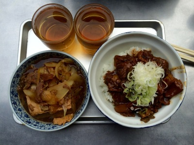 "Nikki-dofu (left) and ""guts bowl"" (right)"